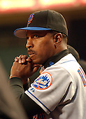 Washington, D.C. - April 29, 2005 -- New York Mets manager Willie Randolph (12) watches the game from the dugout against the Washington Nationals at RFK Stadium in Washington, D.C. on April 29, 2005.  The game marks the Mets first-ever regular - season appearance in Washington..Credit: Ron Sachs- CNP.(RESTRICTION: NO New York or New Jersey Newspapers or newspapers within a 75 mile radius of New York City)