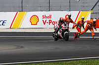 2nd November 2019; Sepang Circuit, Sepang Malaysia; MotoGP Malaysia, Qualifying Day;  The number 5 LCR Honda IDEMITSU rider Johann Zarco is helped back onto his bike after sliding off during practice 3 - Editorial Use