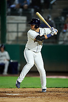 Tri-City Dust Devils Mason House (7) at bat during a Northwest League game against the Vancouver Canadians at Gesa Stadium on August 21, 2019 in Pasco, Washington. Vancouver defeated Tri-City 1-0. (Zachary Lucy/Four Seam Images)