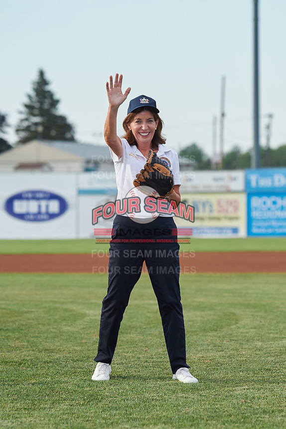 Lieutenant Governor Kathy Hochul waves to fans before throwing out a ceremonial first pitch at a Batavia Muckdogs game against the Auburn Doubledays on July 6, 2017 at Dwyer Stadium in Batavia, New York.  Auburn defeated Batavia 4-3.  (Mike Janes/Four Seam Images)