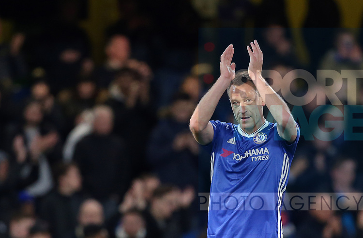 Chelsea's John Terry applauds the crowd during the Premier League match at Stamford Bridge Stadium, London. Picture date: April 25th, 2017. Pic credit should read: David Klein/Sportimage