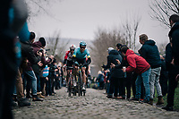 Magnus Cort Nielsen (DEN/Astana) up the Oude Kwaremont<br /> <br /> 71th Kuurne-Brussel-Kuurne 2019 <br /> Kuurne to Kuurne (BEL): 201km<br /> <br /> ©kramon