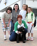 "Liam, Orla, Gretta, Tanya and Kareiz with Charlie the dog enjoying ""National Dog Walking Day"" at Petmania...(Photo credit should read Jenny Matthews www.newsfile.ie)....This Picture has been sent you under the conditions enclosed by:.Newsfile Ltd..The Studio,.Millmount Abbey,.Drogheda,.Co Meath..Ireland..Tel: +353(0)41-9871240.Fax: +353(0)41-9871260.GSM: +353(0)86-2500958.email: pictures@newsfile.ie.www.newsfile.ie."