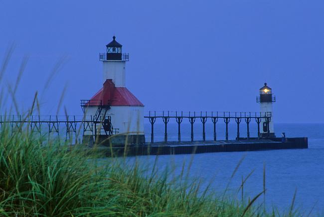 The St  Joseph Pierhead Light glows in the last light of an