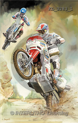Interlitho, Luis, MASCULIN, paintings, motobike, white(KL3283/1,#M#) Männer, masculino, illustrations, pinturas , hombres ,everyday