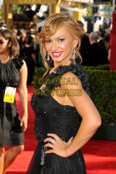 KARINA SMIRNOFF.Arrivals at the 61st Primetime Emmy Awards held at Te Nokia Theater in Los Angeles, California, USA. .September 20st, 2009 .emmys half length black one shoulder dress ruffle.CAP/ROT.©Lee Roth/Capital Pictures