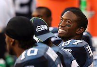 Seahawks Taco Wallace smiles on the sidelines during NFL preseason action Seattle Seahawks hosting Minnesota Vikings on Friday Sept. 2, 2005 at Qwest Field in Seattle, Wash. (Kevin P. Casey/Wireimage.com)