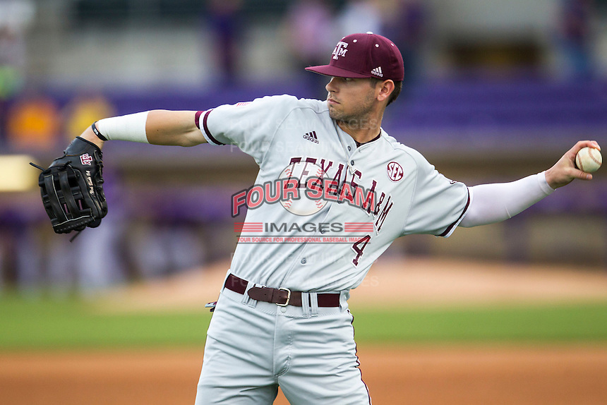 Texas A&M Aggies outfielder Nick Banks (4) warms up before the Southeastern Conference baseball game against the LSU Tigers on April 24, 2015 at Alex Box Stadium in Baton Rouge, Louisiana. LSU defeated Texas A&M 9-6. (Andrew Woolley/Four Seam Images)