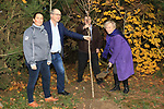 Éanna NÍ Lamhna of the Tree Council of Ireland, with Jackie Wherity (Sales Manager Consumer Products), Colm Conyngham (Marketing and Public Relations Manager) and Brendan Fitzsimons (CEO Tree Council of Ireland) planting a tree at the Bridgestone Balbriggan Service Centre, Unit 13 KVS Business Park, Balbriggan, Co. Dublin, Ireland on Friday 22nd November 2019.<br /> Picture:  Thos Caffrey / Newsfile<br /> <br /> All photo usage must carry mandatory copyright credit (© Newsfile | Thos Caffrey)