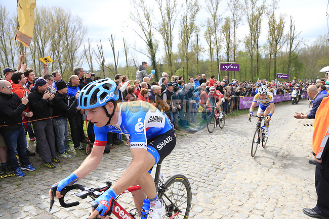 The breakaway group, including Raymond Kreder (NED) Garmin Sharp, climb the Molenberg during the 2014 Tour of Flanders, Belgium.<br /> Picture: Eoin Clarke www.newsfile.ie