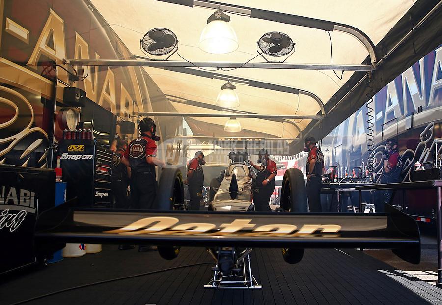 Jun. 2, 2013; Englishtown, NJ, USA: NHRA crew members for top fuel dragster driver Khalid Albalooshi during the Summer Nationals at Raceway Park. Mandatory Credit: Mark J. Rebilas-