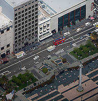 aerial photograph Tiffany & Co and other Stockton Street retailers Union Square San Francisco, California