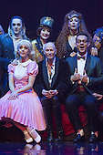 London, UK. 15 September 2015. Richard O'Brien, centre, with the cast of the musical at a photocall. The Rocky Horror Show, written and starring Richard O'Brien, returns to the West End for a limited run at the Playhouse theatre from 11 September 2015. The Rocky Horror Show Gala Performance on 17 September will be broadcast live to cinemas across the UK and Europe. With Richard O'Brien as Narrator, David Bedella as Frank'n'furter, Ben Forster as Brad, Haley Flaherty as Janet and Dominic Andersen as Rocky. Photo: Bettina Strenske