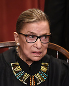 Associate Justice Ruth Bader Ginsburg poses for a group photograph at the Supreme Court building on June 1 2017 in Washington, DC.  <br /> Credit: Olivier Douliery / Pool via CNP