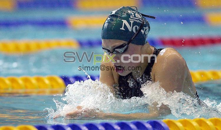 Pix: Matthew Lewis/SWpix.com. Swimming. 2002 Long Course Championships. Commonwealth Trials. Manchester Aquatics Centre. 12/04/2002...COPYWRIGHT PICTURE>>SIMON WILKINSON>>01943 436649>>..Nova Centurion's Heidi Earp in action during the Womens 200m Breastsroke heat.