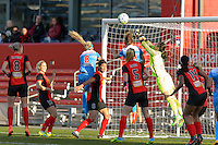 Bridgeview, IL, USA - Saturday, April 23, 2016: Western New York Flash goalkeeper Sabrina D'Angelo (1) with a save during a regular season National Women's Soccer League match between the Chicago Red Stars and the Western New York Flash at Toyota Park. Chicago won 1-0.