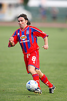 Crystal Palace midfielder Bryan Harkin (8). The New England Revolution (MLS) defeated Crystal Palace FC USA of Baltimore (USL2) 5-3 in penalty kicks after finishing regulation and overtime tied at 1-1 during a Lamar Hunt US Open Cup quarterfinal match at Veterans Stadium in New Britain, CT, on July 8, 2008.
