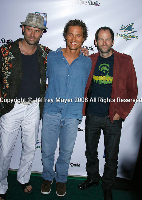 "MALIBU, CA. - September 10: Jeffrey Nordling, Matthew McConaughey and S.R. Bindler arrive at the ""Surfer Dude"" premiere at the Malibu Cinemas on September 10, 2008 in Malibu, California."