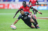 Jona Nareki of New Zealand and Erick Ombasa of Kenya during match between New Zealand and Kenya at the HSBC Paris Sevens, stage of the Rugby Sevens World Series at Stade Jean Bouin on June 9, 2018 in Paris, France. (Photo by Sandra Ruhaut/Icon Sport)