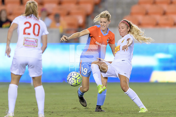 Houston, TX - Saturday July 30, 2016: Tessa Florio, Courtney Niemiec during a regular season National Women's Soccer League (NWSL) match between the Houston Dash and the Western New York Flash at BBVA Compass Stadium.
