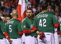 Mexico Team. Equipo de Mexico.<br /> Brandon Laird (5), Adrian Gonzalez (23), Japhet Amador (42).<br />  <br /> https://www.worldbaseballclassic.com/teams/mex<br /> Aspectos del partido Mexico vs Italia, durante Cl&aacute;sico Mundial de Beisbol en el Estadio de Charros de Jalisco.<br /> Guadalajara Jalisco a 9 Marzo 2017 <br /> Luis Gutierrez/NortePhoto.com