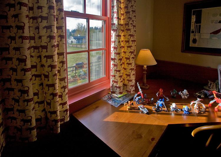 Children's imaginary world, toys, bedroom, sunlight, rural home, farm, Redmond, Washington State, Seattle suburbs, Pacific Northwest, USA,..