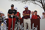 Ian Poulter and LEe Westwood wait as Francesco Molinari tee's off on the second tee onday one of the Abu Dhabi HSBC Golf Championship 2011, at the Abu Dhabi golf club 20/1/11..Picture Fran Caffrey/www.golffile.ie.