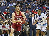 Washington, DC - March 10, 2018:Saint Joseph's Hawks forward Anthony Longpre' drives to the basket during the Atlantic 10 semi final game between Saint Joseph's and Rhode Island at  Capital One Arena in Washington, DC.   (Photo by Elliott Brown/Media Images International)