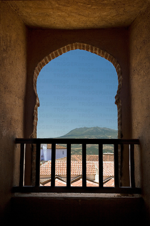 View of Chefchaouen through a kasbah window, Morocco
