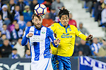 David Timor of Club Deportivo Leganes battles for an aerial ball Mauricio Lemos of UD Las Palmas during the match of La Liga between Deportivo Leganes and Union Deportiva Las Palmas  Butarque Stadium  in Madrid, Spain. April 25, 2017. (ALTERPHOTOS/Rodrigo Jimenez)