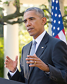 United States President Barack Obama holds a joint press conference with Prime Minister Matteo Renzi of Italy in the Rose Garden of the the White House in Washington, DC on Tuesday, October 18, 2016. <br /> Credit: Ron Sachs / CNP