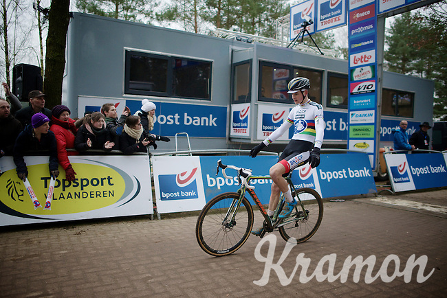 2015 CX World Champion Mathieu Van der Poel (NLD/BKCP-Powerplus) wins in his first appearance as elite cx world champion<br /> <br /> Elite Men's Race<br /> Krawatencross<br /> bpost bank trofee