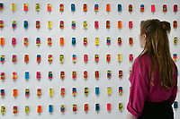 Mixed Media artist Miss Bugs unveils a new installation entitled Do No Harm at Jealous Gallery of resin popsicles highlighting social media sickness. The installation consists of 900 vibrant coloured resin 'popsicles', that in containing a range of pharmaceuticals, critique contemporary society's obsession and consumption of social media.  The exhibition runs Thursday 4 - Sunday 21 July 2019<br /> Miss Bugs Do No Harm exhibitIon, London, UK - 4 July 2019<br /> CAP/JOR<br /> ©JOR/Capital Pictures