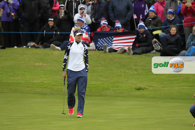 Nelly Korda of Team USA on the 10th green during Day 2 Foursomes at the Solheim Cup 2019, Gleneagles Golf CLub, Auchterarder, Perthshire, Scotland. 14/09/2019.<br /> Picture Thos Caffrey / Golffile.ie<br /> <br /> All photo usage must carry mandatory copyright credit (© Golffile | Thos Caffrey)