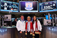 U.S. Soccer President Sunil Gulati (center) poses with former U.S. Men's National Team star Jeff Agoos and U.S. Women's National Team midfielder Carli Lloyd pose for a photo after ringing the closing bell of the NYSE during the centennial celebration of U. S. Soccer at the New York Stock Exchange in New York, NY, on April 02, 2013.