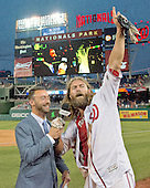 Washington Nationals left fielder Jayson Werth (28) is interviewed by MASN's Dan Kolko as he celebrates the long single that scored Michael A. Taylor from first to beat the Chicago Cubs 5 - 4 in the 12th inning at Nationals Park in Washington, D.C. on Wednesday, June 15, 2016. <br /> Credit: Ron Sachs / CNP