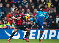 Ainsley Maitland-Niles of Arsenal & Jordon Ibe of AFC Bournemouth during the Premier League match between Bournemouth and Arsenal at the Goldsands Stadium, Bournemouth, England on 14 January 2018. Photo by Andy Rowland.