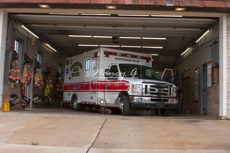 Ambulance in the Fire Station Menmonee Falls Wisconsin