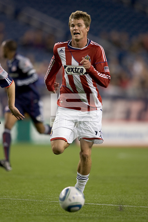 Goal scorer Chivas USA forward Justin Braun (17) chases a pass. Chivas USA defeated the New England Revolution, 4-0, at Gillette Stadium on May 5, 2010.