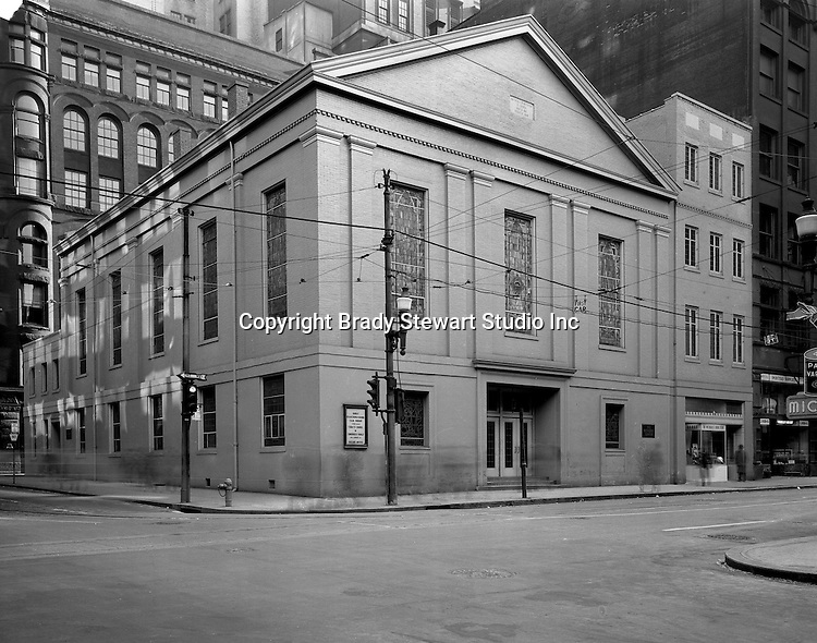 Pittsburgh PA: View of the Methodist Center located at the corner of Smithfield Street and Seventh Avenue in downtown Pittsburgh - 1947.  The Center was remodeled in 1942 to make room for the Methodist publishing house and church offices.  The Center is on the site of the original Methodist Episcopal Church built in 1817 and rebuilt after a fire in 1848.