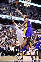 The Wizards' Antawn Jamison goes up for a layup over Lakers' Andrew Bynum. Los Angeles defeated Washington 115-103 at the Verizon Center in Washington, DC on Tuesday, January 26, 2010.  Alan P. Santos/DC Sports Box
