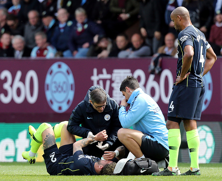 Manchester City's Kyle Walker receives treatment on his left arm during the first half<br /> <br /> Photographer Rich Linley/CameraSport<br /> <br /> The Premier League - Burnley v Manchester City - Sunday 28th April 2019 - Turf Moor - Burnley<br /> <br /> World Copyright © 2019 CameraSport. All rights reserved. 43 Linden Ave. Countesthorpe. Leicester. England. LE8 5PG - Tel: +44 (0) 116 277 4147 - admin@camerasport.com - www.camerasport.com