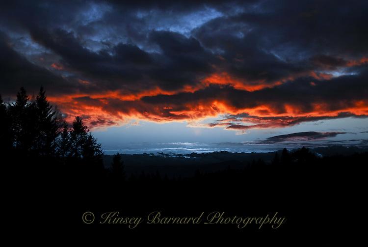 Dark and moody winter sunset in Montana