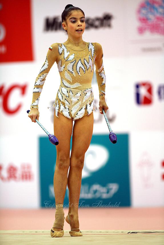 Filipa Siderova of Bulgaria...moment with clubs at 2006 Aeon Cup Worldwide Club Championships in rhythmic gymnastics on November 16, 2006.<br />