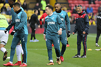 Swansea assistant coach Joao Mario Ferreira Oliveira gives instructions to his players prior to the Premier League match between Watford and Swansea City at the Vicarage Road, Watford, England, UK. Saturday 30 December 2017
