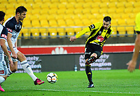 Matija Ljujic shoots for goal during the A-League football match between Wellington Phoenix and Melbourne Victory at Westpac Stadium in Wellington, New Zealand on Friday, 10 January 2018. Photo: Dave Lintott / lintottphoto.co.nz