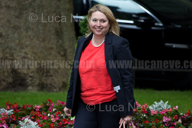 Karen Bradley MP (Secretary of State for Culture, Media and Sport).<br /> <br /> London, 12/06/2017. Today, Theresa May's reshuffled Cabinet met at 10 Downing Street after the General Election of the 8 June 2017. Philip Hammond MP - not present in the photos - was confirmed as Chancellor of the Exchequer. <br /> After 5 years of the Coalition Government (Conservatives &amp; Liberal Democrats) led by the Conservative Party leader David Cameron, and one year of David Cameron's Government (Who resigned after the Brexit victory at the EU Referendum held in 2016), British people voted in the following way: the Conservative Party gained 318 seats (42.4% - 13,667,213 votes &ndash; 12 seats less than 2015), Labour Party 262 seats (40,0% - 12,874,985 votes &ndash; 30 seats more then 2015); Scottish National Party, SNP 35 seats (3,0% - 977,569 votes &ndash; 21 seats less than 2015); Liberal Democrats 12 seats (7,4% - 2,371,772 votes &ndash; 4 seats more than 2015); Democratic Unionist Party 10 seats (0,9% - 292,316 votes &ndash; 2 seats more than 2015); Sinn Fein 7 seats (0,8% - 238,915 votes &ndash; 3 seats more than 2015); Plaid Cymru 4 seats (0,5% - 164,466 votes &ndash; 1 seat more than 2015); Green Party 1 seat (1,6% - 525,371votes &ndash; Same seat of 2015); UKIP 0 seat (1.8% - 593,852 votes); others 1 seat. <br /> The definitive turn out of the election was 68.7%, 2% higher than the 2015.<br /> <br /> For more info about the election result click here: http://bbc.in/2qVyNRd &amp; http://bit.ly/2s9ob51<br /> <br /> For more info about the Cabinet Ministers click here: https://goo.gl/wmRYRd