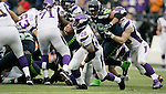 Minnesota Vikings running back Adrian Peterson rushes against the Seattle Seahawks at CenturyLink Field in Seattle, Washington on  November 4, 2012.   Peterson rushed for 182 yards on 17 carries and scored two touchdowns in their 20-30 loss to the Seahawks.  ©2012. Jim Bryant Photo. All Rights Reserved.