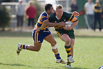 P. Mata tackles the strong running Nigel Watson. CMRFU Counties Power Premier Club Rugby game between Patumahoe & Pukekohe played at Patumahoe on April 12th, 2008..The halftime score was 10 all with Pukekohe going on to win 23 - 18.