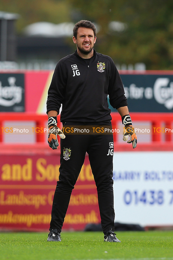 Stevenage coach Jorden Gibson during Stevenage vs Plymouth Argyle, Sky Bet EFL League 2 Football at the Lamex Stadium on 8th October 2016